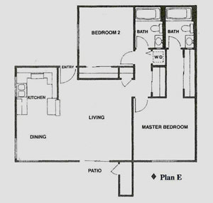 Floor Plan drawing for 2 bed 2 bath apartment with washer/dryer and patio with storage closet