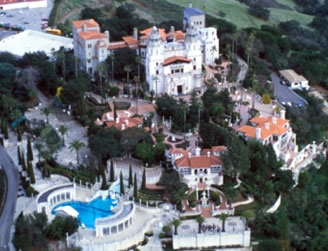 aerial view of Hearst Castle in San Simeon on the california central coast