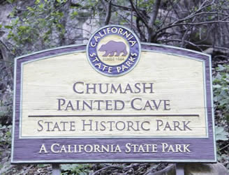 california state park wooden entrance sign for Chumash painted cave state historic park